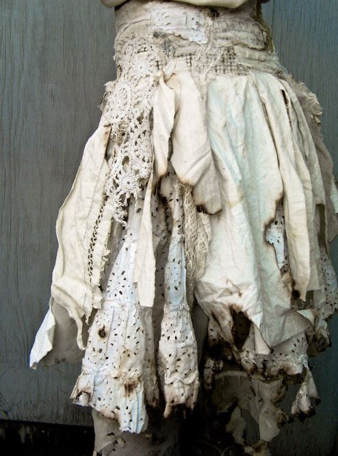 burned fabric gibbous skirt. cool idea for the post apocalypse look