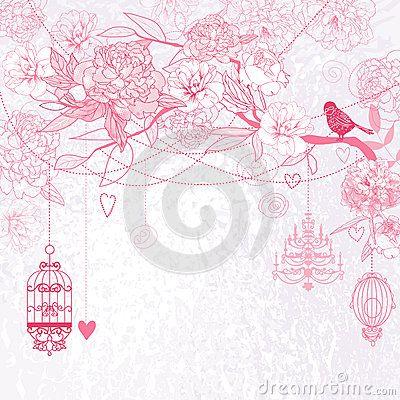 bricolaje fondo floral rosado fondos florales pjaro rosado the cage image stock vectors stock photos