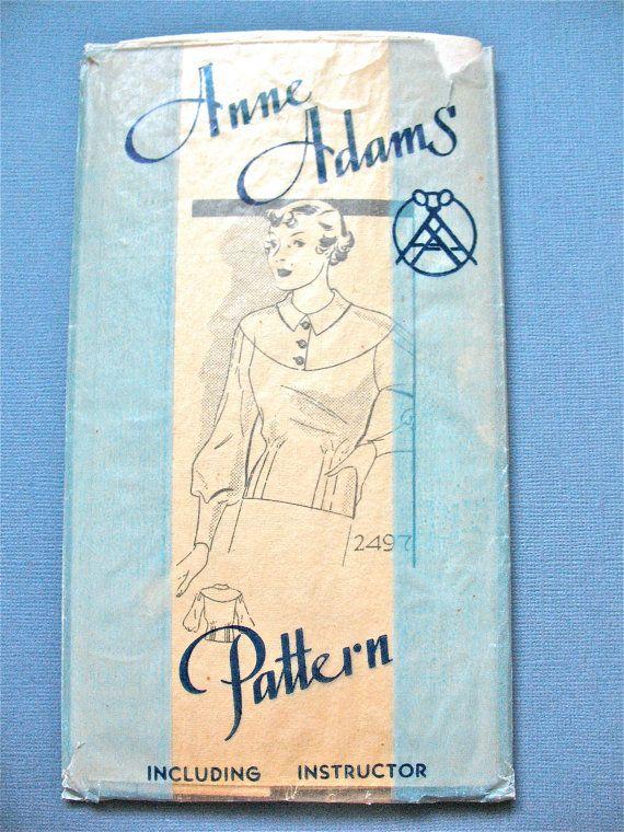 patron de chemisier des ann es 1930 par anne adams 2497 vintage des ann es 30 coudre motif. Black Bedroom Furniture Sets. Home Design Ideas