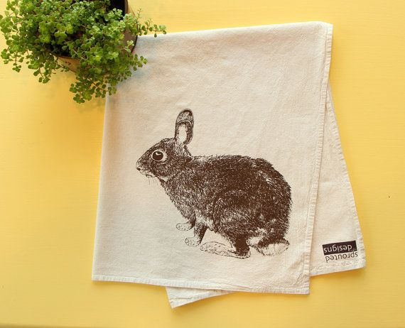 Bunny Rabbit Flour Sack Towel - Deluxe Natural Tea Towel - Hand Screen Printed - Perfect Easter Gift on Etsy, $12.00