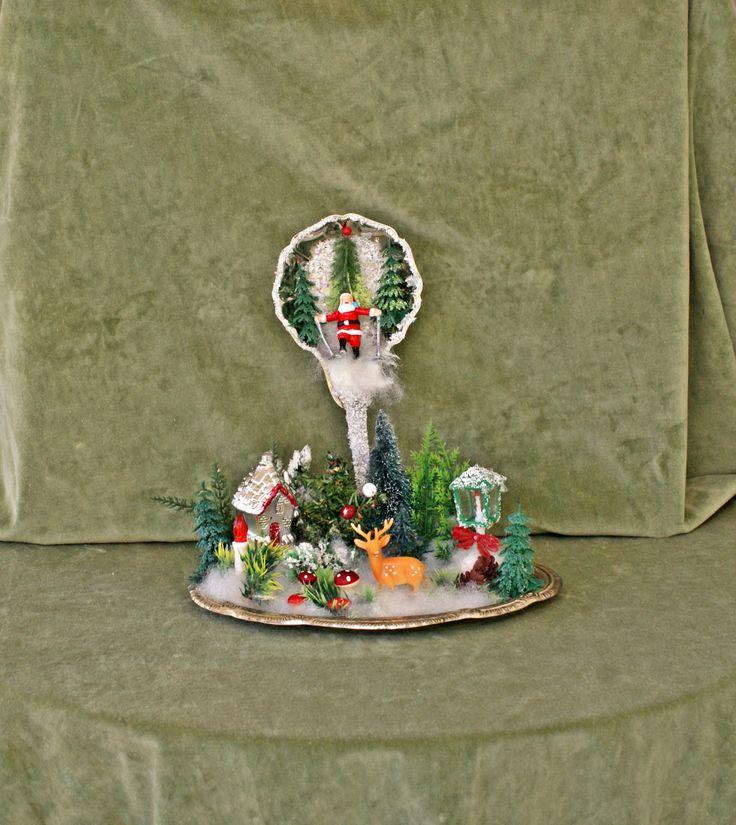 Christmas Santa Decor, Snow Ornament, Christmas Table, Christmas Decoration, Victorian Christmas, Christmas Snow Decor, Retro Christmas by VintageShopCreations on Etsy