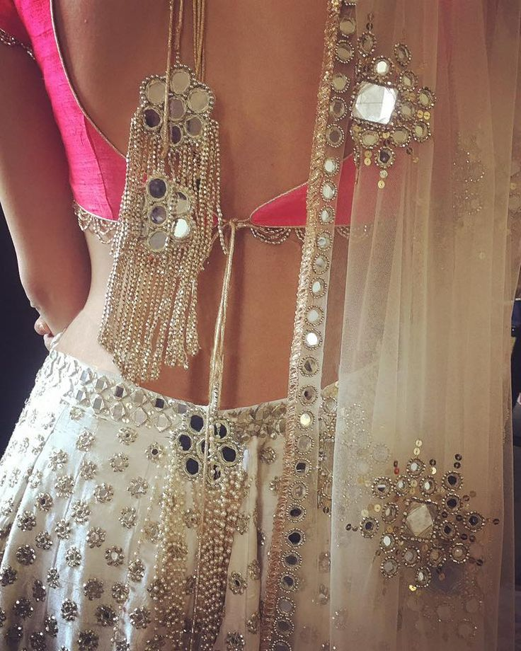 Oh would you look at this back. What a gorgeous white pink mirror lehenga choli by #Abhinav_Mishra #Frugal2Fab @frugal2fab via @sunjayjk