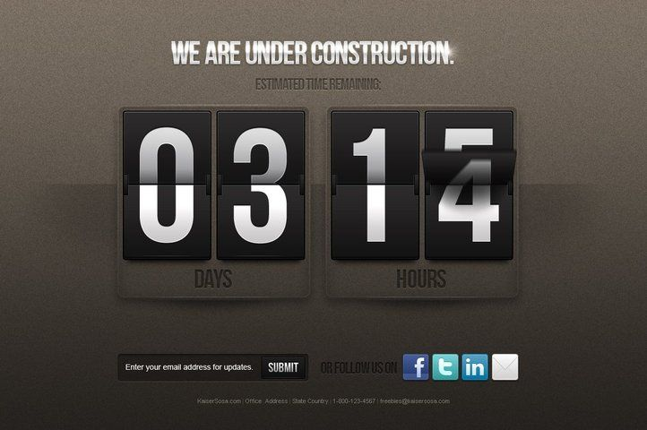 Under Construction Counter Free PSD Template, Vector - 365PSD.com