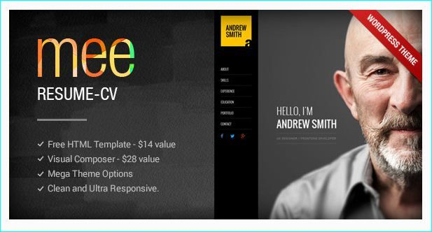 25+ Modern CV/Resume WordPress Themes