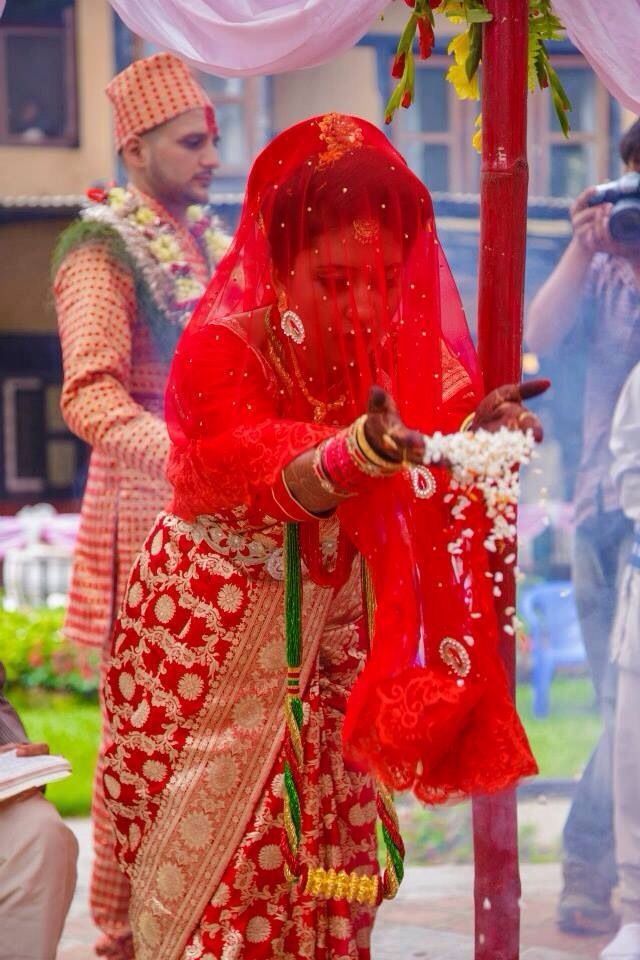 Bride paying tribute to all forms of god