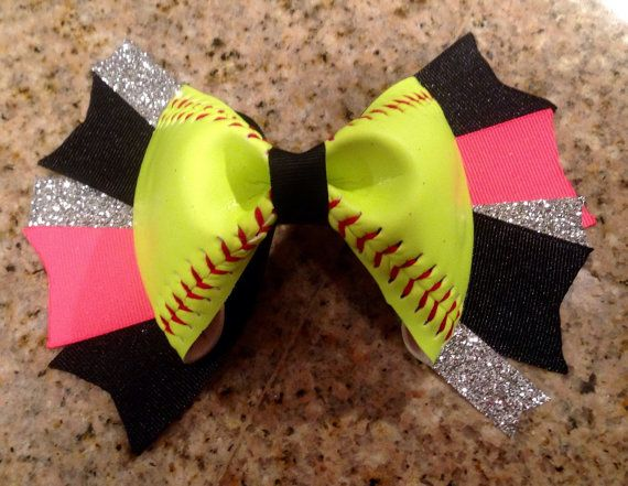 Softball hair bow! Made with an actual softball! Available in a hair bow lot!