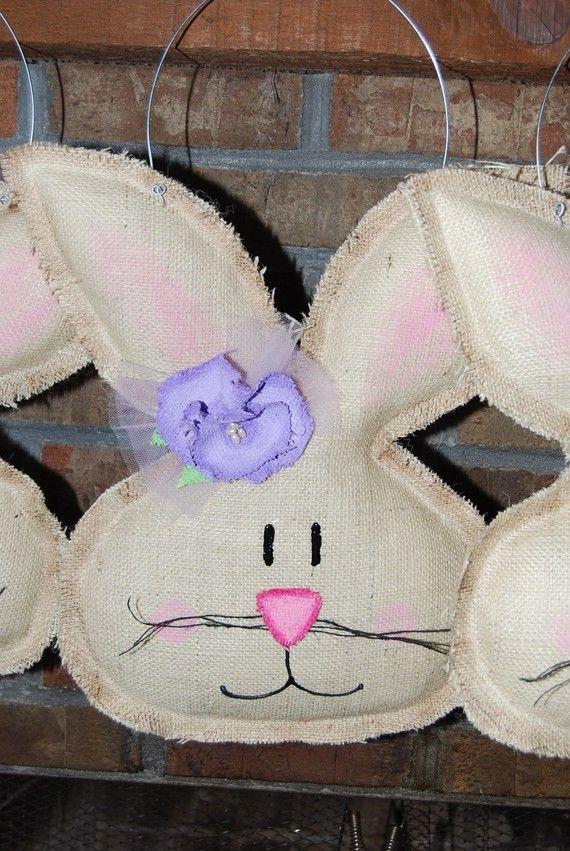 Girl Burlap Easter Spring Bunny Door Hanger by bowsgalorenmore, $34.00