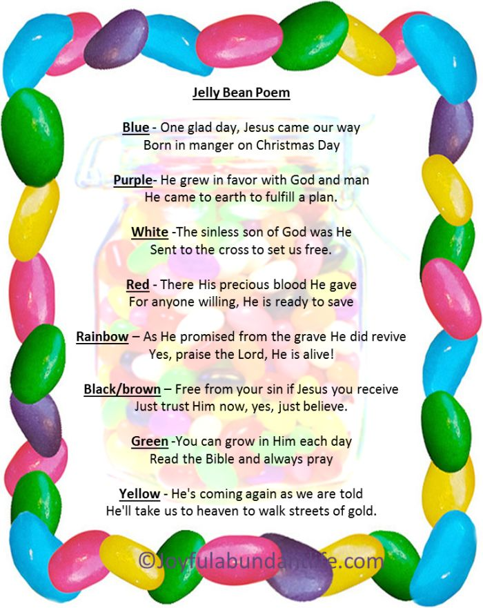 The Jelly Bean Poem - Easter Resurrection Craft - Jesus is Alive and the Jelly Bean Poem Freebie PDF great activity and idea for Sunday School, Children's Church, Grandkids,