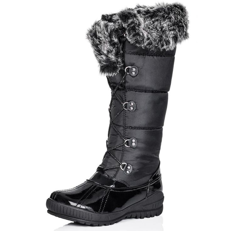 flat lace up synthetic fur knee high wide calf snow boots