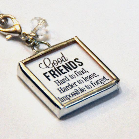 1 Inch X 1 Inch Soldered Charm Pendant Friendship Quote - would be cool tied to napkins at the table