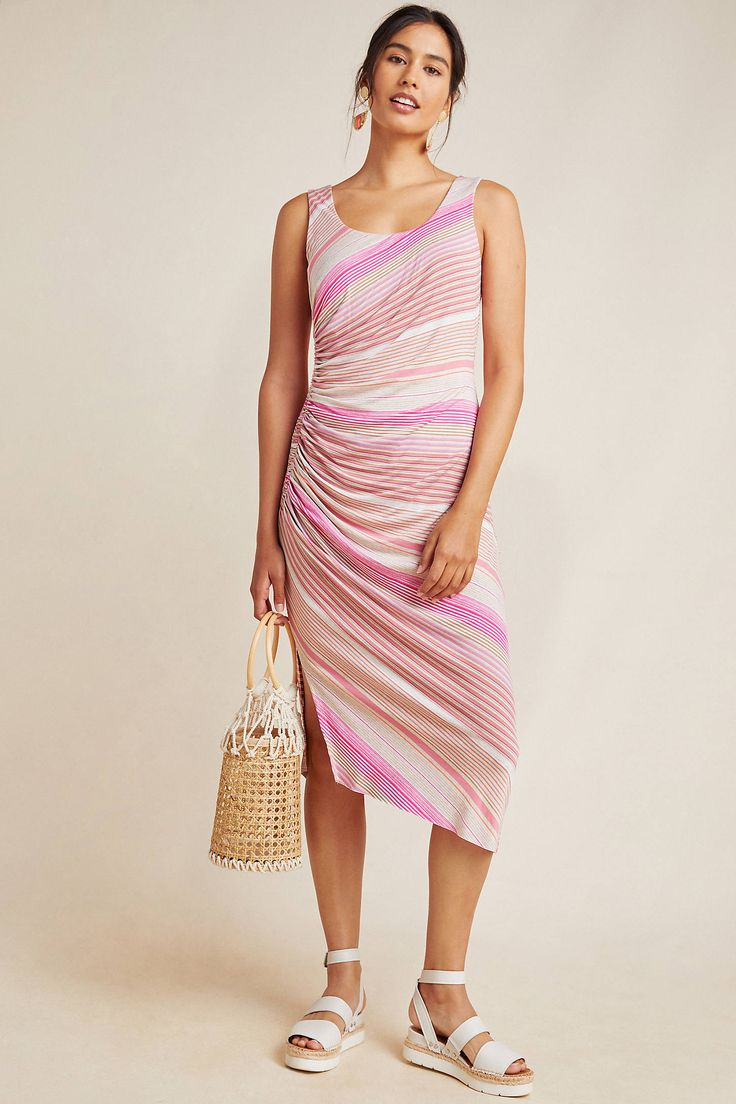 Petite Bailey 44 Reina Striped Midi Dress in Pink Size: M P, Women's Dresses at Anthropologie