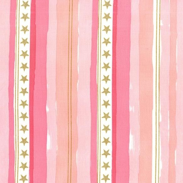 Michael Miller Stars and Stripes in Pink with Metallic - Peek-a-Boo Pattern Shop