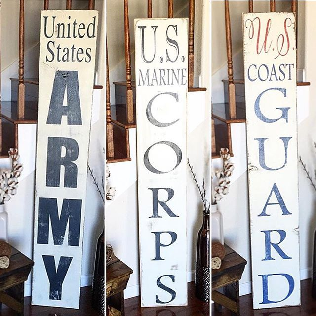 thesimplyinspiredshop: (U.S. Marine Corps) (U.S. Coast Guard) (U.S. Army)  American military men and women sacrifice so much for our freedom! This front porch sign is a good way to honor those who have served or are currently serving our country! We want to thank all the military families and servicemen and women who have sacrificed so much!  Preview price and size over at our new restock preview page @previewsimplyinspired  These be available for purchase during our restock on Sunday April…