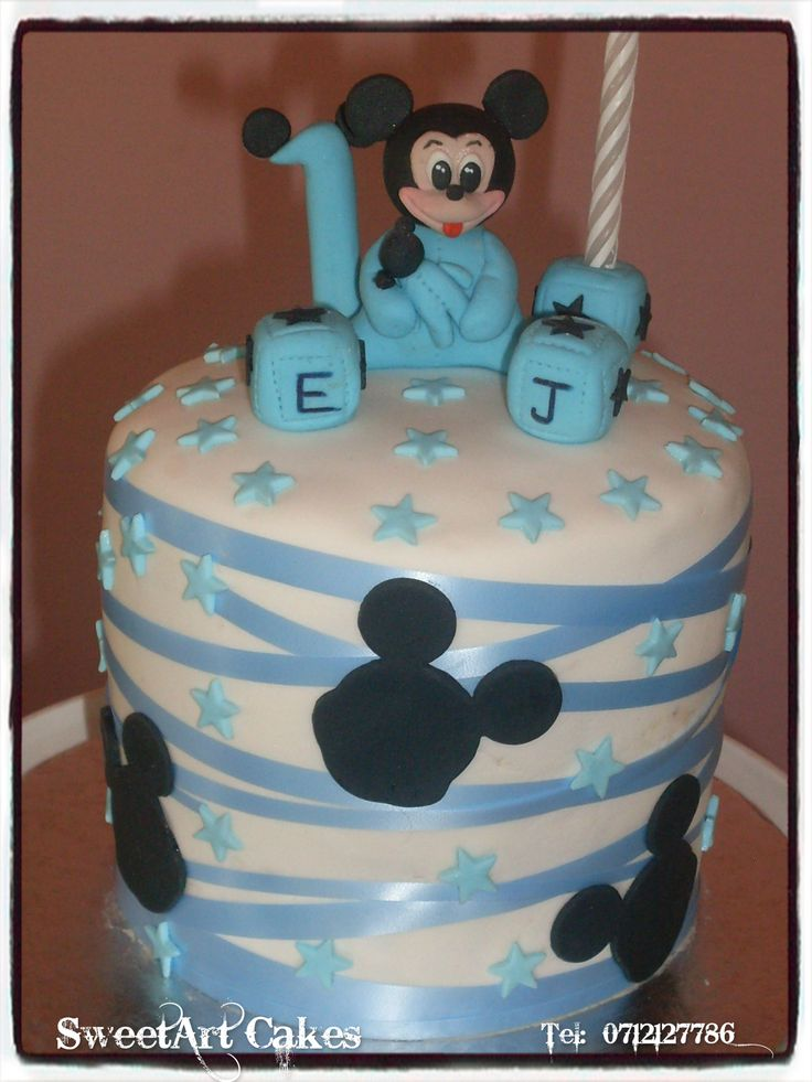 Baby Mickey Mouse Cake (Decor available for sale separately)  For orders and more info email Sweetartbfn@gmail.com or call 0712127786.  www.facebook.com/SweetArtCakesBfn