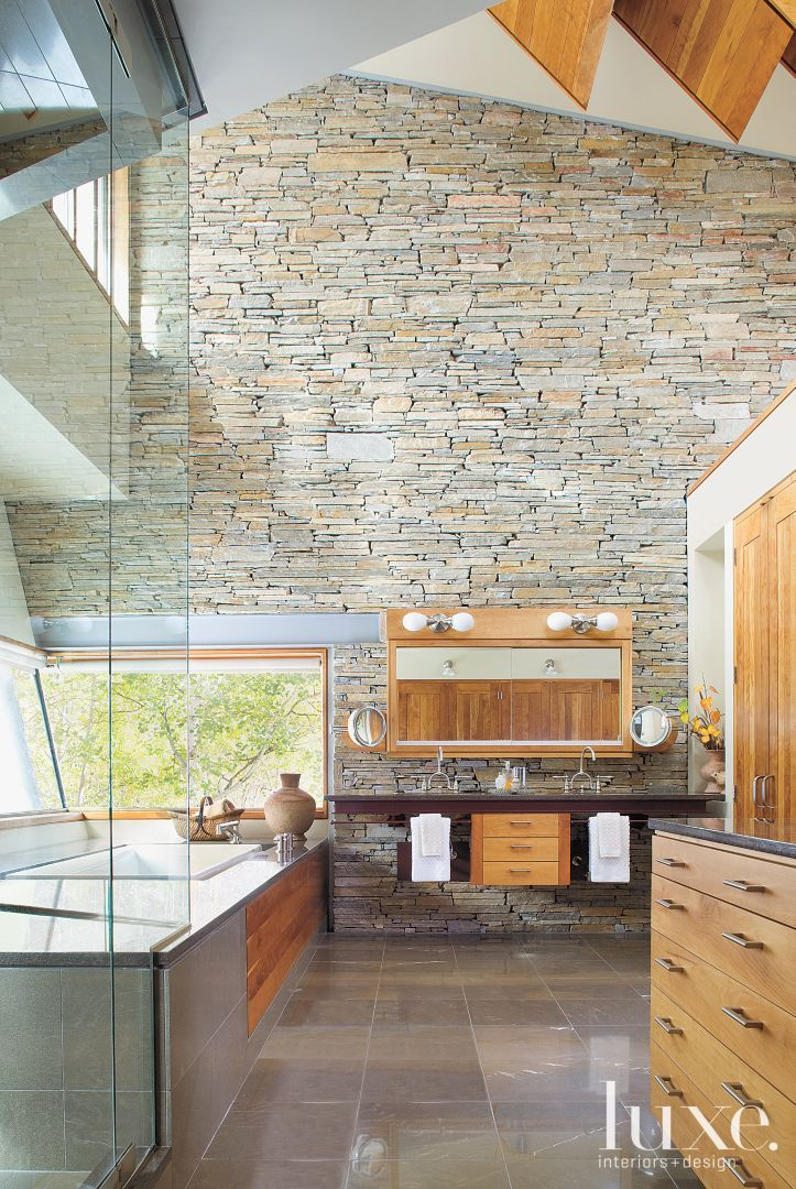pictures to hang in master bathroom%0A Mountain Master Bathroom with Slanted Windows   LuxeSource   Luxe Magazine   The Luxury Home Redefined