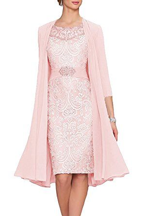 c413f641aa4 APXPF Women s Tea Length Mother Of The Bride Dresses Two Pieces With Jacket  Orange US14 at Amazon Women s Clothing store