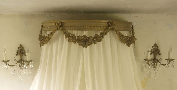 French Shabby Chic Giltwood Bed Canopy Corona Ceil De Lit