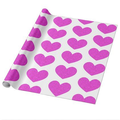 Bright Purple Heart Valentine's Day Wrapping Paper - valentines day gifts love couple diy personalize for her for him girlfriend boyfriend