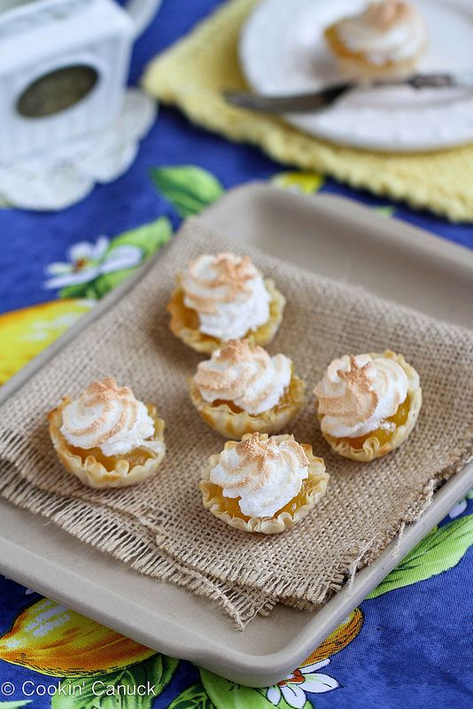 Mini Lemon Meringue Pie Fillo Tartlet Recipe.  Lemon meringue pie is my favorite pie; I bet these are great too.