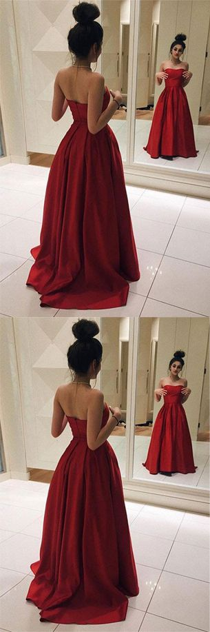 Red Prom Dresses,Long Prom Dresses,Cheap Prom Dresses, Elegant Prom Dresses,Strapless Prom Dresses,A Line Prom Gowns,Ball Gown Dresses,Red Satin Evening Dresses,Custom Made Evening Gowns,Red Graduation Dress