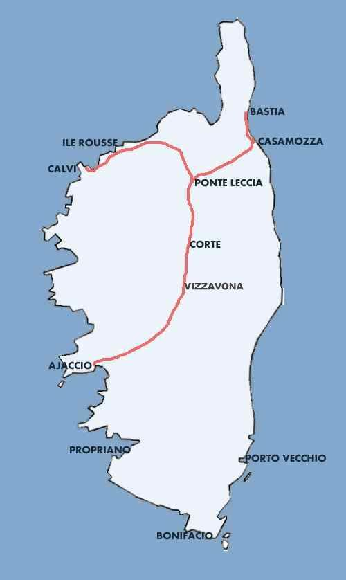 Corsica - Map of rail network