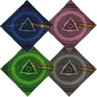 "Pink Floyd - Dark Side of the Moon Shadow Bandana. Pink Floyd bandana has icons & image from the Dark Side of the Moon album. Slightly different look than our Pink Floyd ""lyric"" bandana. It is a super high quality bandana that is made of 100% cotton. Available in 4 different colors. It measures 22"" x 22"". Officially licensed Pink Floyd merchandise."