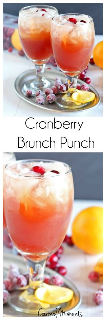 Cranberry Brunch Punch - Only 4 ingredients. So simple. Mix up in minutes!| carmelmoments.com