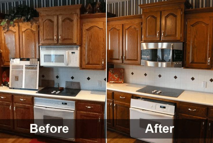 Retro Cabinet refacing before and after images