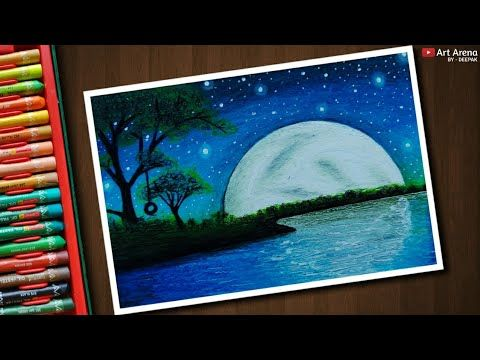 Beautiful Moonlight Scenery Drawing With Oil Pastels Step By Step