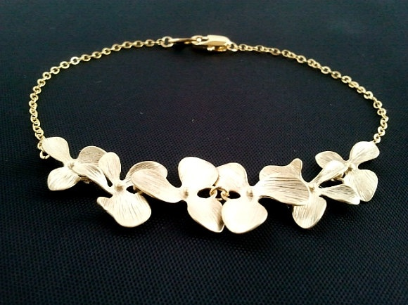 Dangling Triple Orchids Flowers Bracelet Gold - bridesmaid gifts,Wedding jewelry,flower girl - Silver or gold. $24.50, via Etsy.