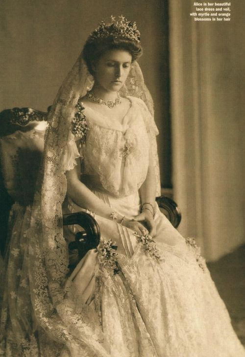 Princess Alice of Battenberg, mother of Prince Philip, Duke of Edinburgh, on her wedding day