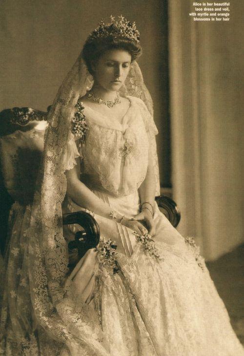 Princess Alice of Battenberg, mother of Prince Philip, Duke of Edinburgh, on her wedding day