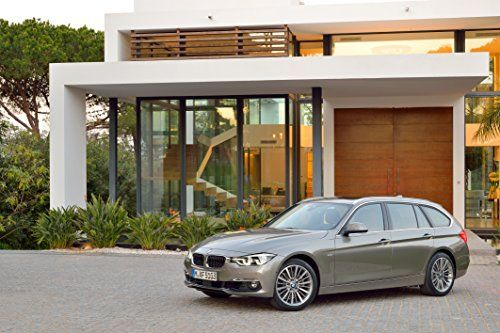 BMW 330d F31 Touring Luxury Line 2015 Car Art Poster Print on 10 Mil Archival Satin Paper Brown Front Side Static View 36x24