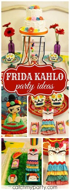 You have to see this amazing party featuring Frida Kahlo! See more party ideas at CatchMyParty.com!