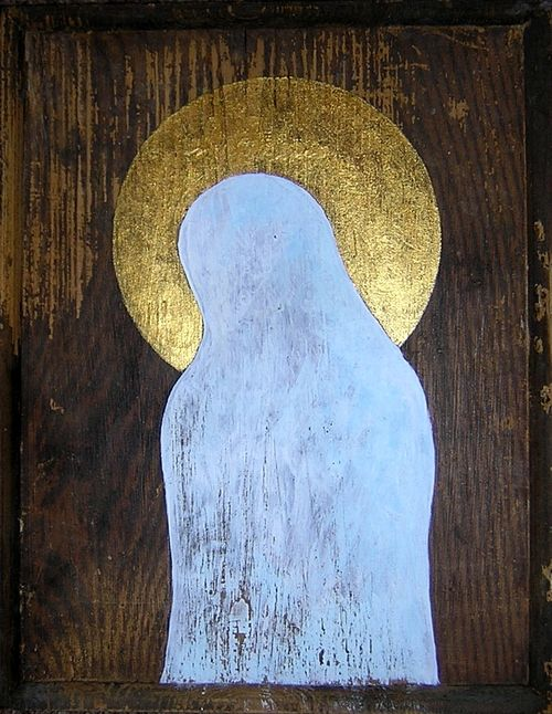 MADONA TICHÁ - I. MADONA SILENT I. - akryl, zlatá gutta, dřevo - acryl, gold gutta, wood 33 x 75 cm