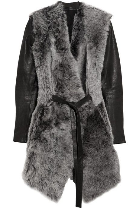 Aminaka+Wilmont+Leather-sleeved+shearling+wrap+coat