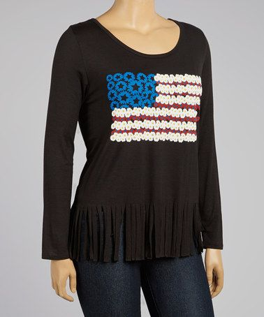 american flag with fringe