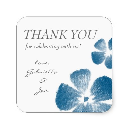 Navy Watercolor Flowers Thank You Stickers