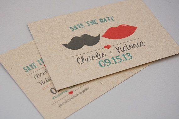 Save the Date Postcard DEPOSIT - Printable, DIY, Mustache Lips, Vintage, Rustic, Art Deco, Hipster, Modern, Kraft, Cute (Wedding Design #8)