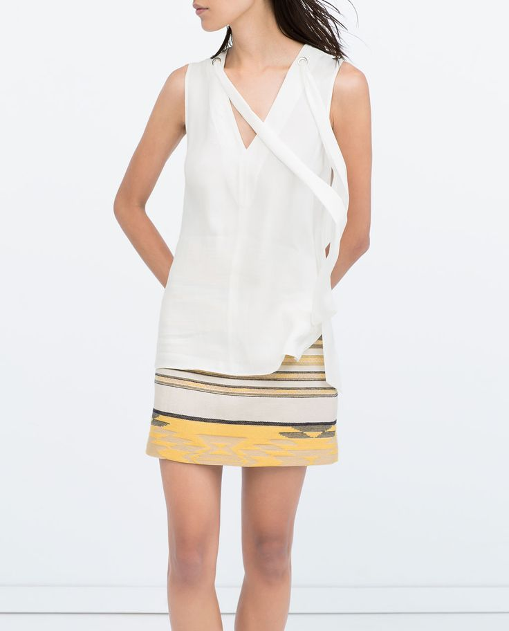 Image 2 of V-OPENING TIE-NECK TOP from Zara