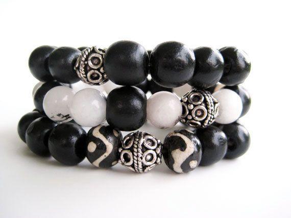 Black and white beaded stretch bracelet set by Rock & Hardware Jewelry on Etsy.