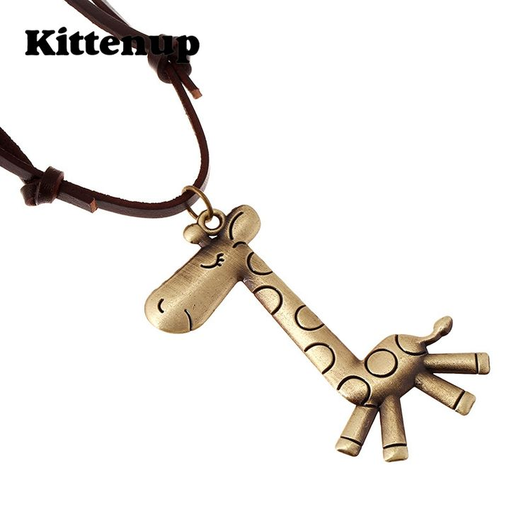 Kittenup New Fashion Leather Rope Jewelry Cute Animal Pendant Giraffe Necklace For Women Femme