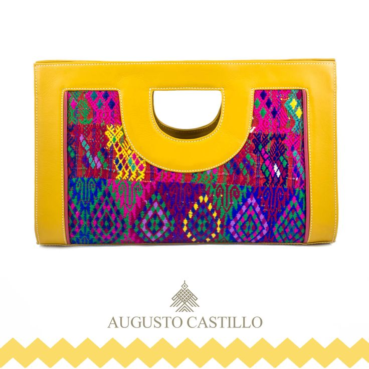 "Deer pattern clutch 100% genuine leather and hand made mayan ""huipil""."