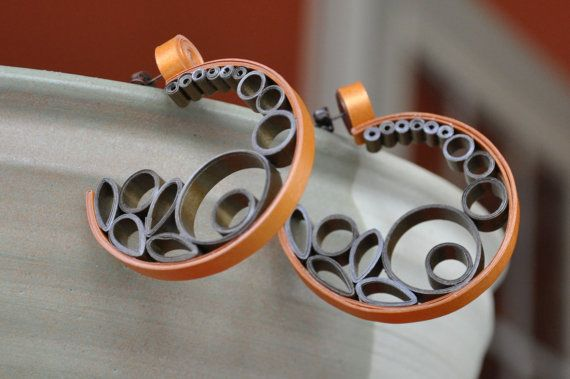 Bronze Gold Quilled Quilling Paper Earrings Mod Modern Retro Hoops