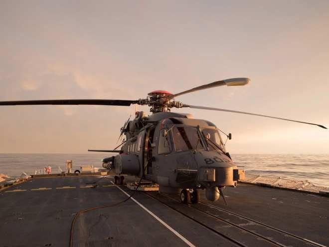 A Canadian CH-148 Cyclone sits on board HMCS Halifax during sea trials in the Atlantic off the coast of Nova Scotia on April 18, 2015. Photo: Jacek Szymanski, Navy Public Affairs IS16-2015-0001-004