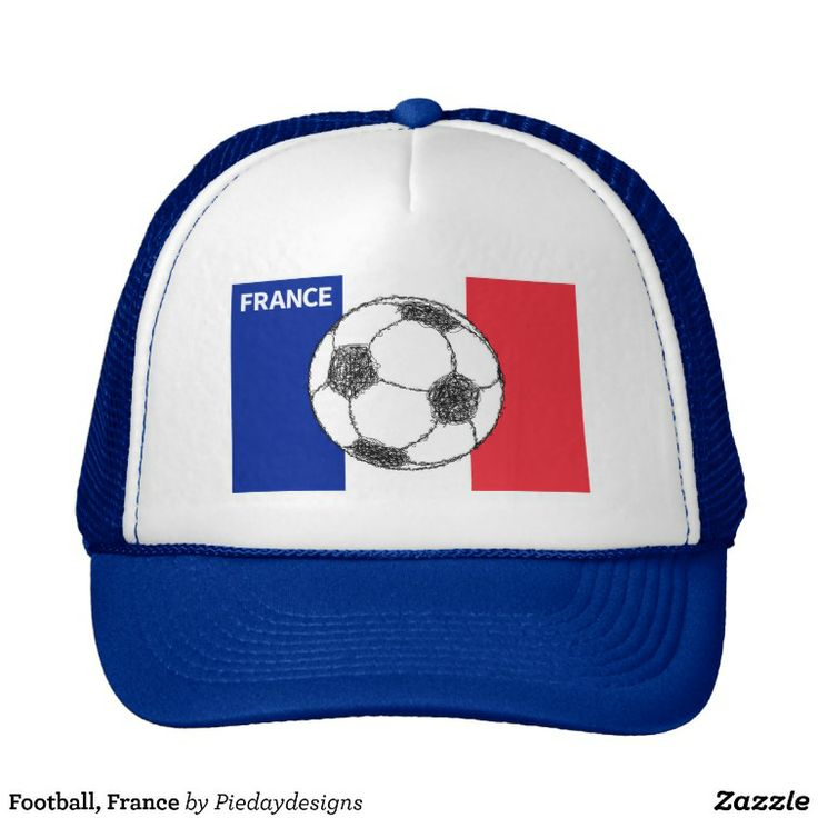 Football, France  trucker hat  The national flag of France, tricolour flag featuring three vertical bands coloured blue, white, and red, forms the backdrop for a sketch style football (soccer ball).   Created By Piedaydesigns