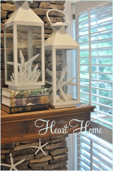 Summer Mantle Decor   Simple Idea! Just Change Out The Inside Contents Of  The Lanterns