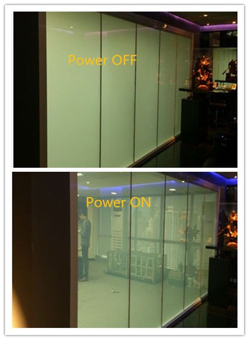 Switchable Film technologies. It is manufactured with a self-adhesive cling layer on one side (peel and stick) which makes it easy to apply to both new and existing glass (no specialist installation equipment required). A simple ON - OFF mode switches the film from being clear (transparent) to frosted (opaque). In its frosted state the film acts as an electronic blind providing privacy and security for any glass, window or partition.  If interested, please email me : ytrushui@gmail.com