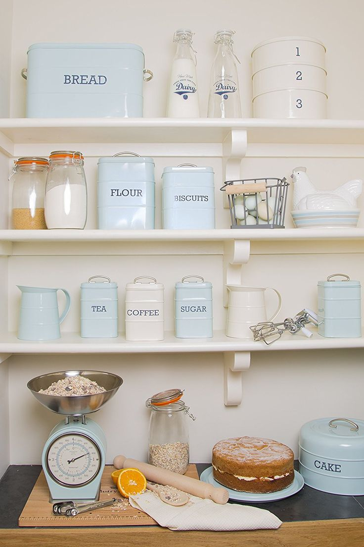 Space in the kitchen by adding shelves and glass canisters with seals - Kitchencraft Living Nostalgia Airtight Flour Storage Container 17 X 12 X 24 Cm Vintage Storage Containersflour Storage Containerkitchen