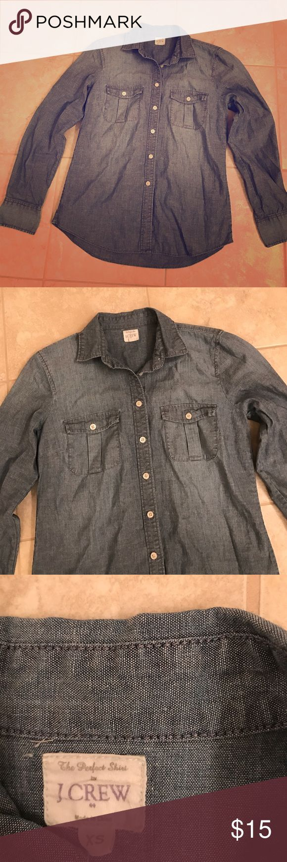 Chambray shirt Cute chambray shirt. Worn once. J. Crew Tops Button Down Shirts